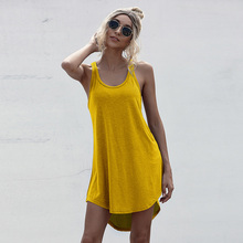 2021 Casual O-neck Sleeveless Y2K Tank Dress Summer Loose Off Shoulder Asymmetrical Cotton Mini Dress Women Streetwear Plus Size