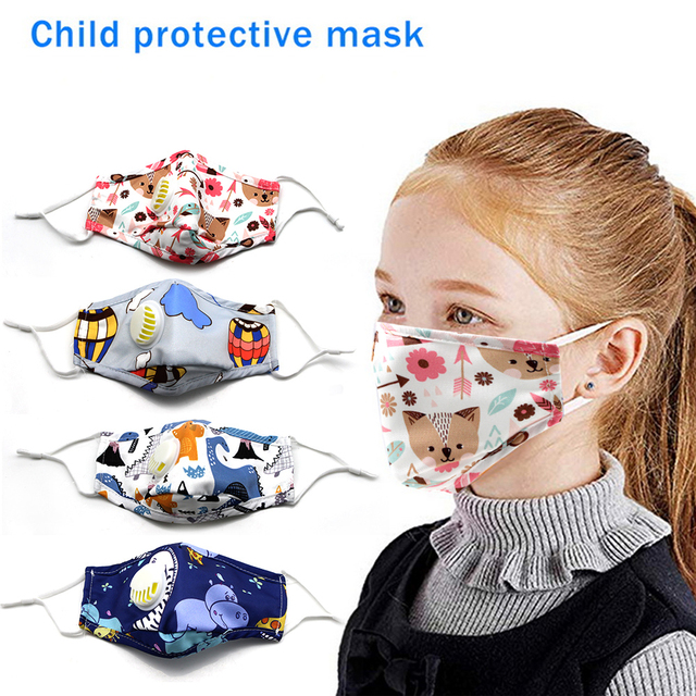 Kids Cotton PM2.5 Cute Cartoon Masks Mouth-Muffle Face-Shields with Breathing Valve And 2 Filters for 2-12 Years Old Children 3