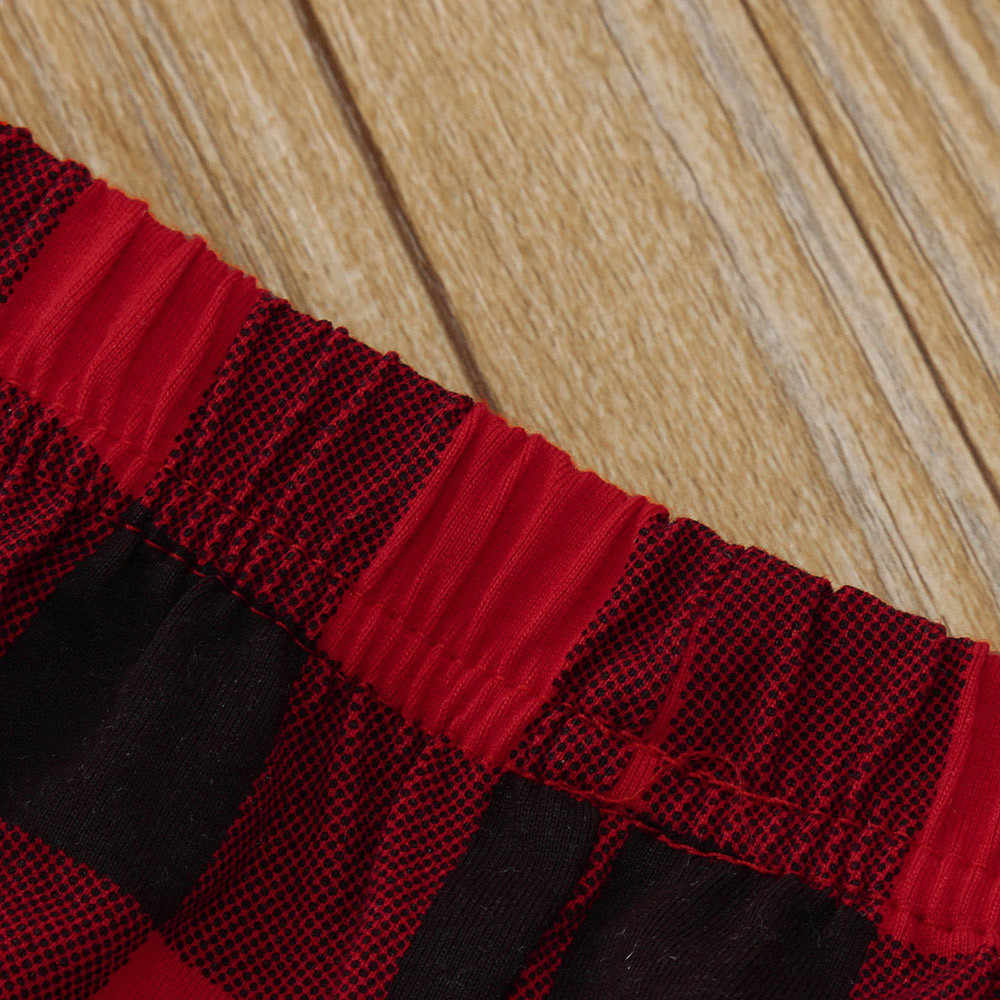 פעוט ילדי בנות חג המולד צביים הדפסת ארוך שרוול תחרה טלאים T חולצות משובץ מכנסיים סטי בגדי תינוק סתיו תלבושות