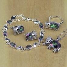 فضة 925 مجوهرات الصوفي النار قوس قزح الفيل متعدد الألوان كريستال طقم مجوهرات أقراط نسائية/قلادة/قلادة/حلقة/سوار
