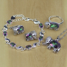 Silver 925 Jewelry Mystic Fire Rainbow Elephant Multi color Crystal Jewelry Set Women Earring/Pendant/Necklace/Ring/Bracelet