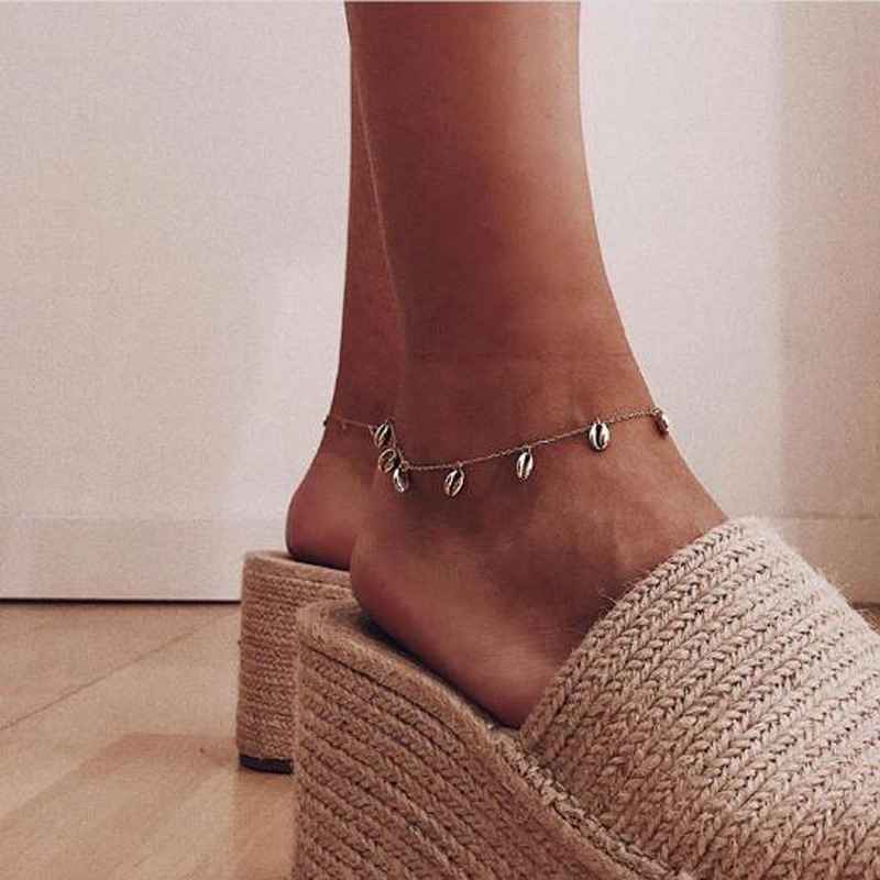 New Bohemia Beads Rope Chain Anklets for Women Shell Foot Jewelry Gold Bracelet Ankle on Leg Female Ankle Strap 2019