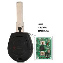 Jingyuqin Fernbedienung Auto Schlüssel Fob 2 Tasten 433MHz mit ID48 Chip Für VW Volkswagen Golf