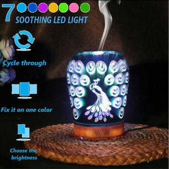 3D LED Light 7 Colors Peacock Ultrasonic Aroma Diffuser Essential Oil Mist Humidifier Aromatherapy Home Small Air Conditioning 1