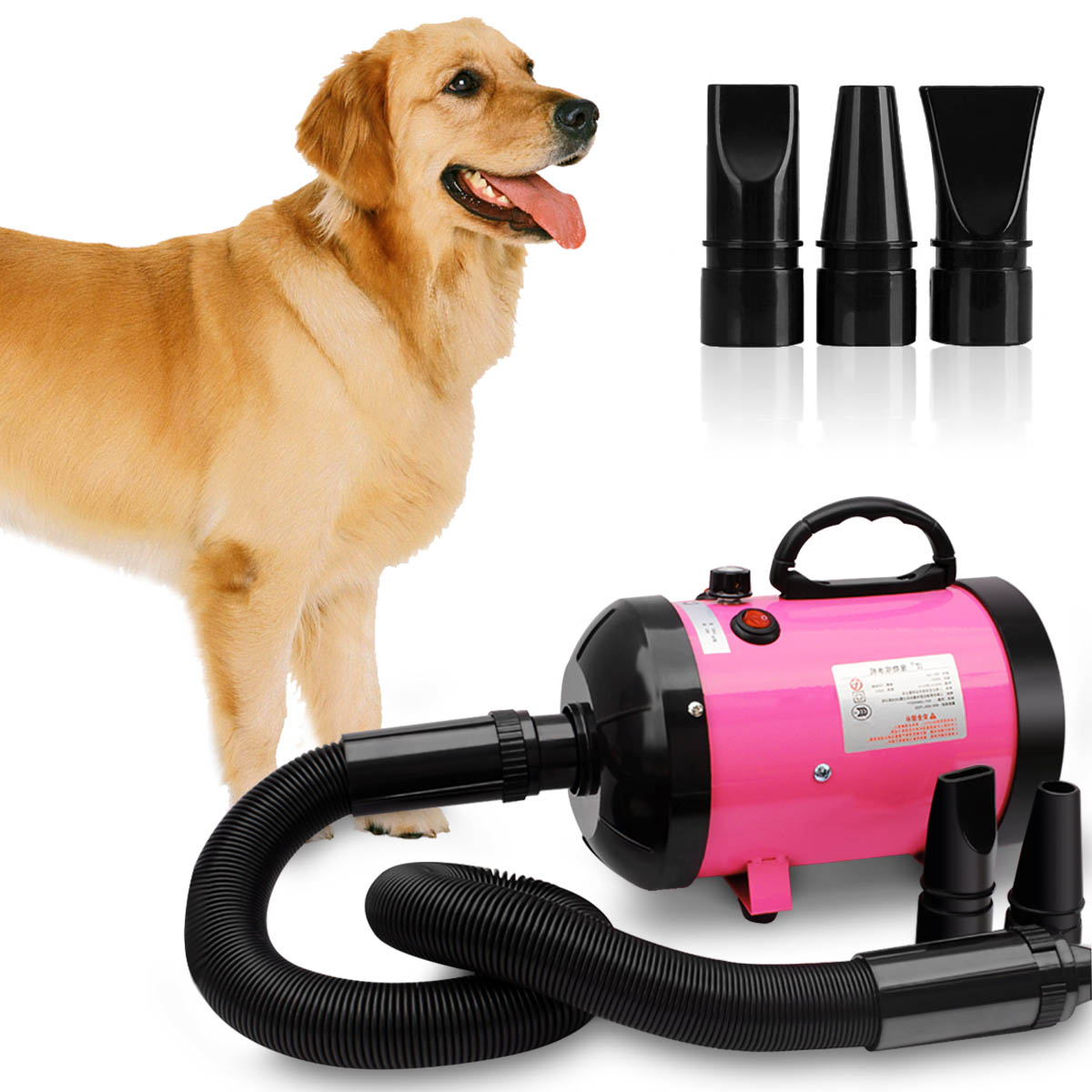 Blower Hair-Dryer Strong-Power Adjustable 2800W Pet Dog Ce with 3-Nozzles 3-Color Eu-Plug