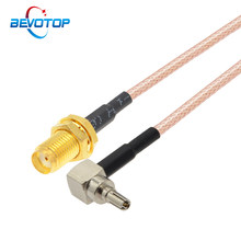 2 pces sma fêmea para crc9 macho conector rg316 trança cabo cabo de extensão coaxial crc9 jumper para 3g modem roteador