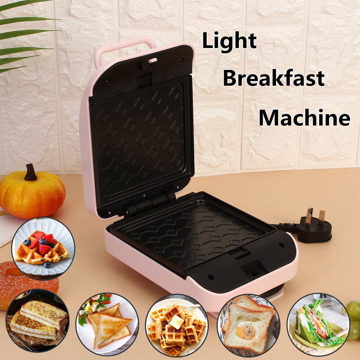220V 600W Mini Electric Automatic Waffle Maker Sandwich Hamburger Cake Bubble Egg Oven Pan Pot Machine for Breakfast Dinner