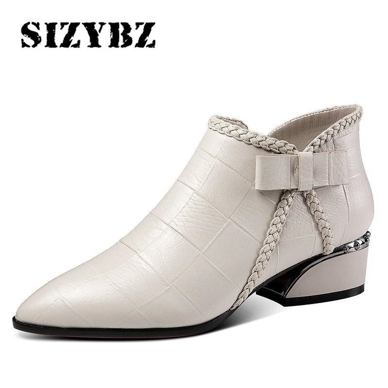 Pointed Toe Beige Square Heel Women Boots 2019 Fashion Butterfly knot Ankle Boots Zipper PU Leather Rubber Zapatos Mujer