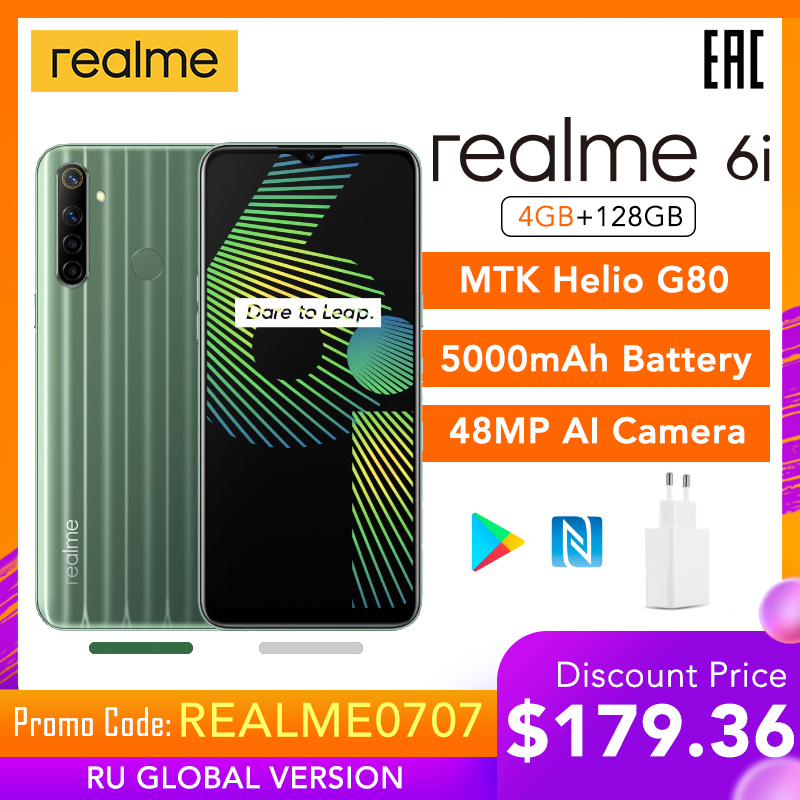 "Realme 6i 4gb ram 128gb rom versão global do telefone móvel 5000mah bateria 6.5 ""helio g80 48mp câmera play store nfc multi idioma"