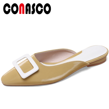 CONASCO Women Sandals Summer 2020 New Arrival Slippers Mules Elegant Fashion Concise Low Heels Casual Shallow Shoes Woman