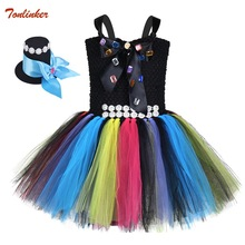 Girls Princess Alice Costumes With Hat Girl Tutu Dress Baby Girls Birthday Cosplay Costume Kids Halloween Holidays Clothes 2-12Y ariel inspired girls tutu dress tulle princess little mermai cosplay tutu dresses for girls kids halloween party costumes 2 12y