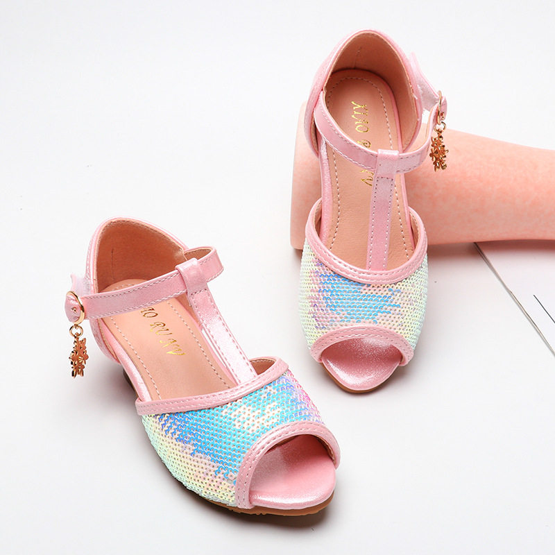 Children Sequined Fish Head Princess Sandals Girls Sandals 2020 New Big Virgin High-heeled Sandals
