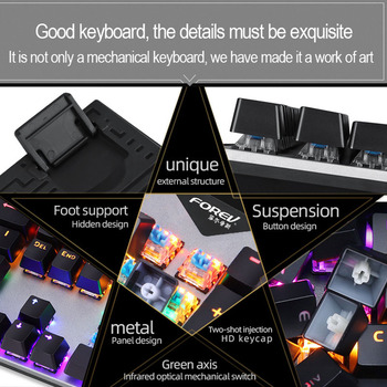 Gaming Mechanical Keyboard With LED Backlight USB Wired Keyboards Luminous Blue Swich for PC Laptop Russian Sticker 6