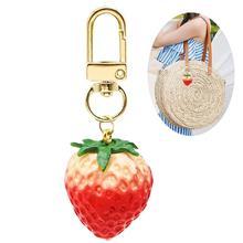 2019 słodkie brelok śliczne truskawkowy pomarańczowy brelok do kluczy kobiety damska torba brelok do torby torby wisiorek proste brelok biżuteria prezenty tanie tanio Bageek Metal 6093663 Ornament
