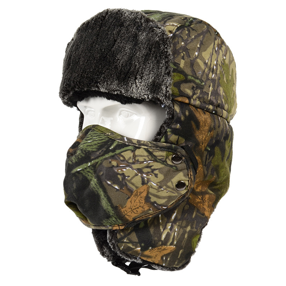 Unisex Thickening Outdoor Warm Riding Cycling Windproof Protective Skiing Bomber Hat Ear Flap Winter With Mask Camouflage