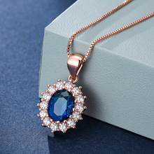 RongXing Mystic Rainbow Fire Crystal Necklace Oval Sunflower Pendants Rose Gold Chain Red Blue Stone Wedding Necklaces For Women