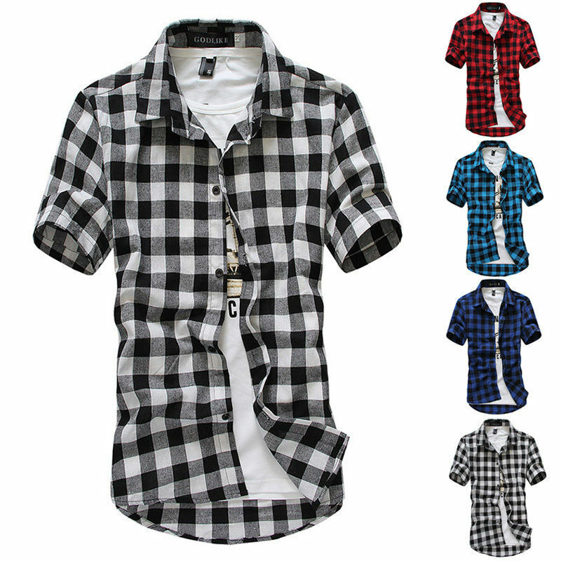 Casual Men's Plaid Cotton Blouses Long Sleeve Casual Button-Down Slim Fit Suit Men Short Sleeve Casual Office Work Shirt Tee Top