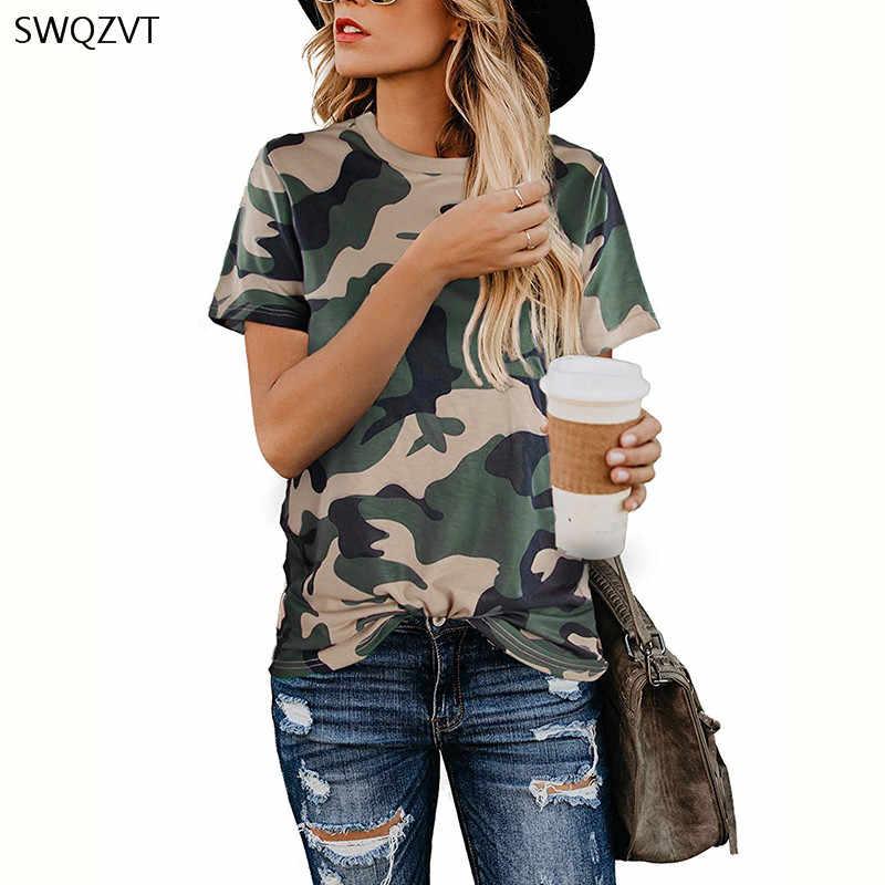 2020 primavera verão nova camiseta feminina casual leopardo impressão em torno do pescoço camisa de manga curta senhoras topos roupas das mulheres