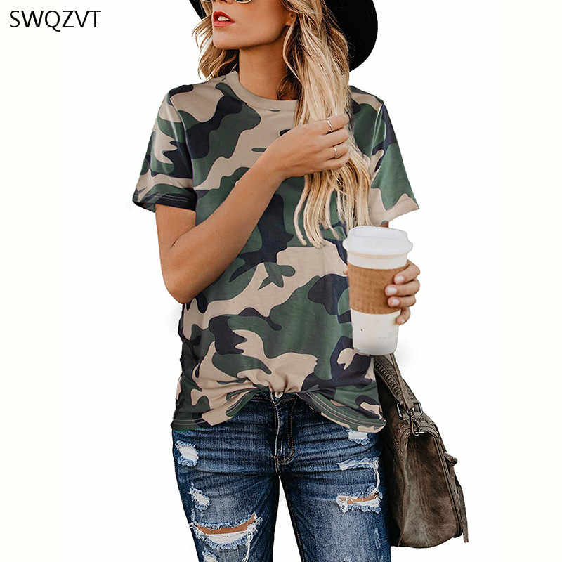 2020 אביב הקיץ חדש נשים חולצה מקרית הדפס מנומר עגול צוואר קצר שרוול חולצה גבירותיי חולצות Tees נשים בגדים