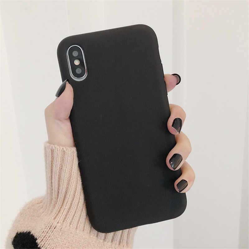 Slim Warna Solid untuk iPhone 11 Pro Case Pasangan Kembali Lembut Silicone Ponsel Cover UNTUK iPhone 11 Pro XS Max XR X 7 8 6 6 S Plus Cover