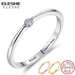 ELESHE autentyczne 925 srebro pierścionki okrągły cyrkon kryształowy palec pierścionki dla kobiet ślub oryginalna biżuteria srebrna