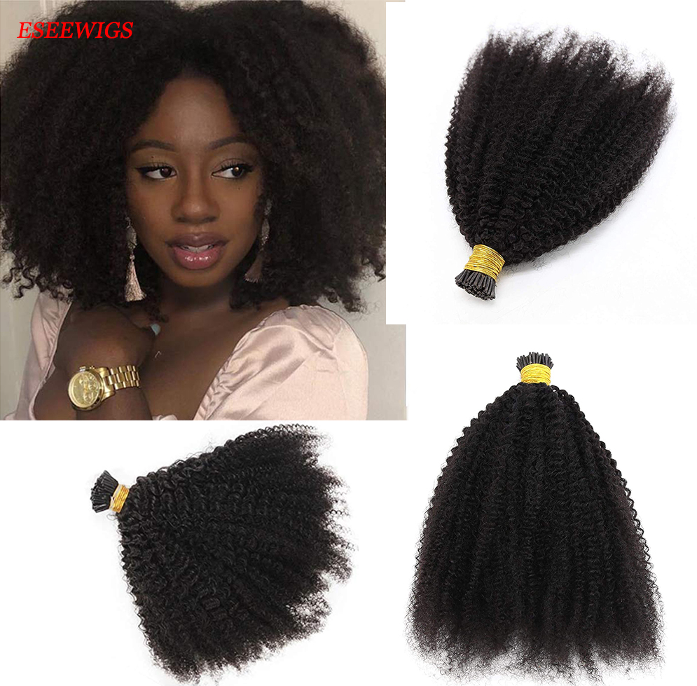 Afro Kinky Curly I Tip Human Hair Extension Brazilian Remy Human Hair Tip Hair Extensions Curly 100g/100 strand For Black Women