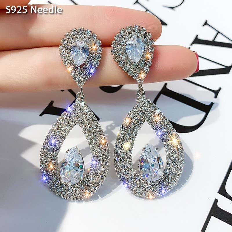 Real 925 Sterling Silver Needle Long Dangle Earrings for Women Jewelry Luxury Waterdrop Rhinestone Female Drop Earrings Bijoux
