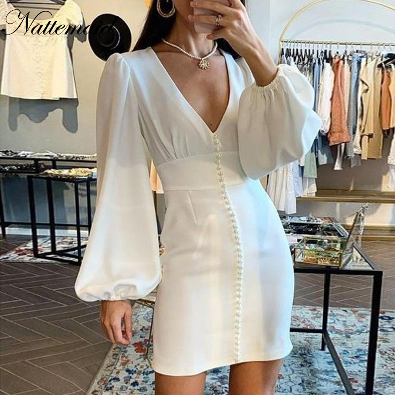 Nattemaid V Neck Lantern Sleeve White Dress  Women Pearl High Waist Sexy  Mini Dresses Office Ladies Normal Bodycon Dress Solid