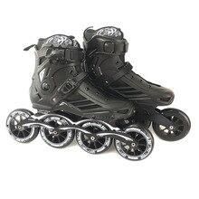 속도 인라인 롤러 스케이트 전문 하프 부츠 스케이트 신발 4*110mm 바퀴 크기 35 ~ 46 무료 스케이트 롤러 블레이드 SH62