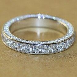 Vagzeb Klassieke Vrouwen Band Ring Volledige Verharde Crystal Zirkoon Stone Brilliant Lover Wedding Engagement Party Ring Ronde Ringen Sieraden