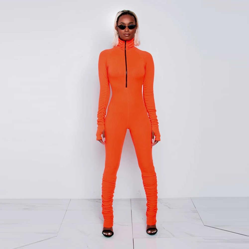 XLLAIS kalın pamuklu nervürlü malzeme tulumlar kadınlar sıkı uzun kollu Neon turuncu tulum rahat gece elbisesi başparmak deliği vücut Romper