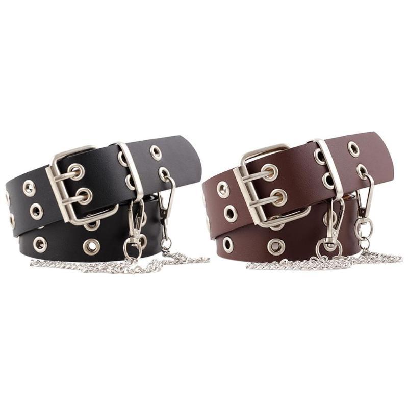 Delicado diseño con estilo punk cinturón personalidad especialmente para mujeres hombres cuero PU pretina de estilo retro correa de cintura de cadena