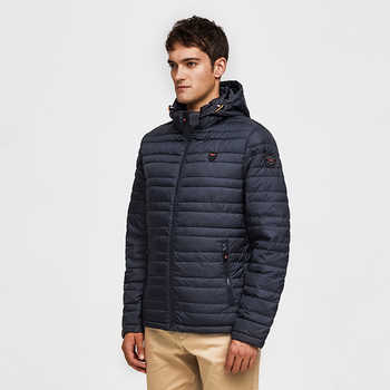 TIGER FORCE 2019 Men Jacket Spring Fashion Cotton Padded Coat with Hoody Solid Color Detachable Hooded Men\'s Outerwear Parka