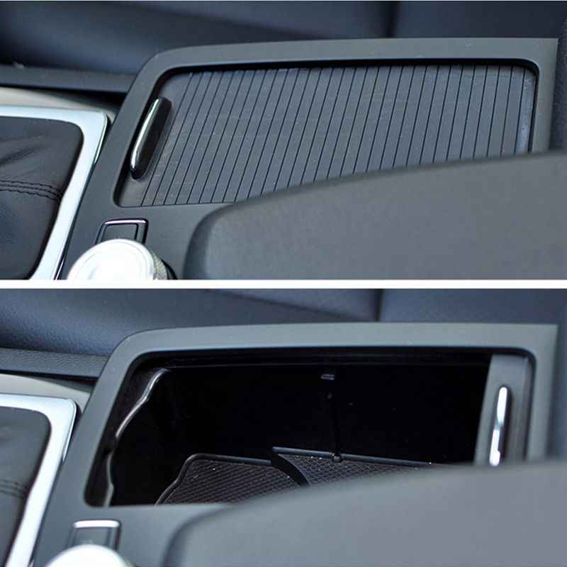 Carbon Fiber Style For Benz C Class W204 2008-2014 Car ABS Central Console Cup Holder Frame Trim For E Class W212 2010-2011 LHD