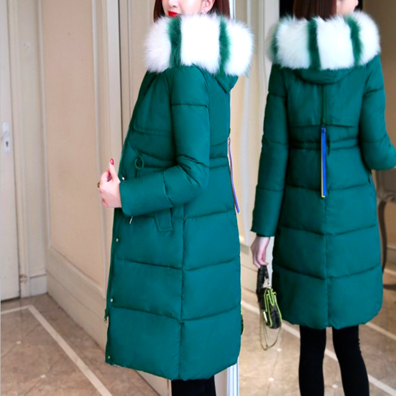 2019 winter women's cotton suit  in long section large Fur collar  drawstring waist slim hooded cotton coat
