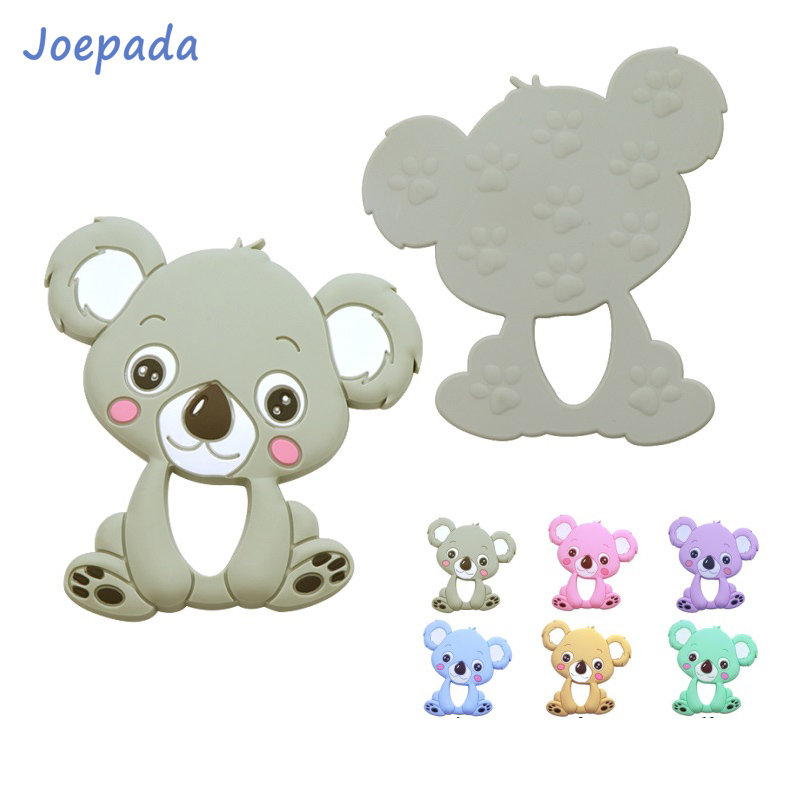 Joepada 2pcs Silicone Teethers Food Grade DIY Animal Koala Baby Ring Teether Infant Silicone Chew Charms Teething Toddler Toys