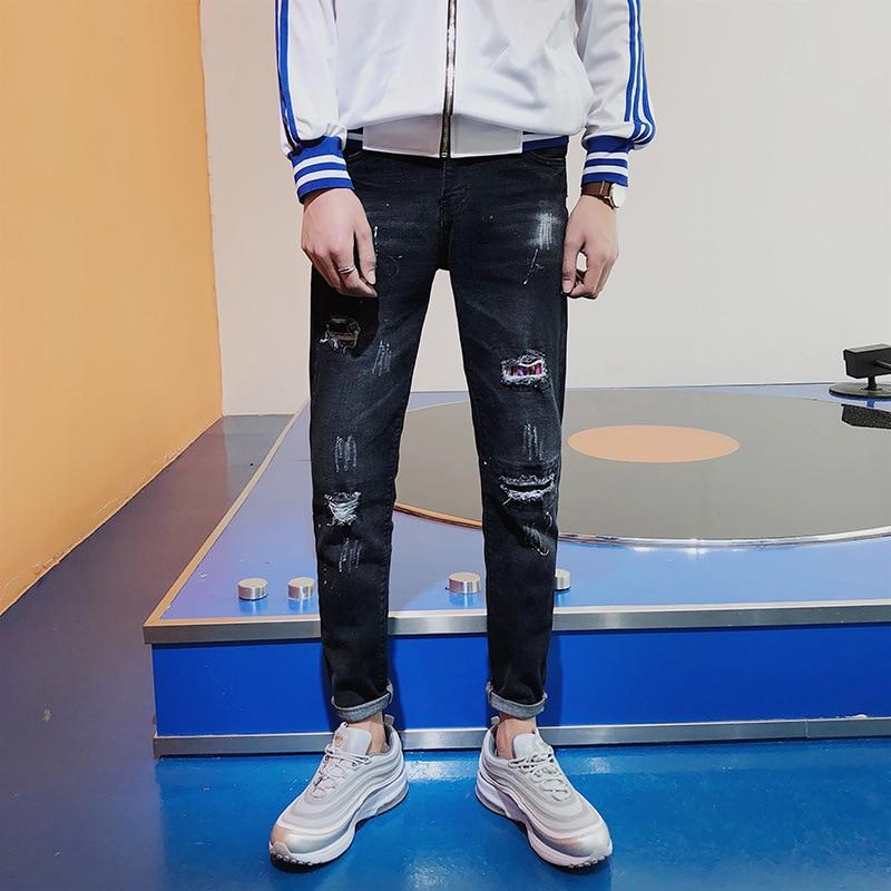Summer Thin Section Men With Holes Capri Jeans Men's Slim Fit Pants Elasticity Versatile Korean-style Trend Beggar Pants