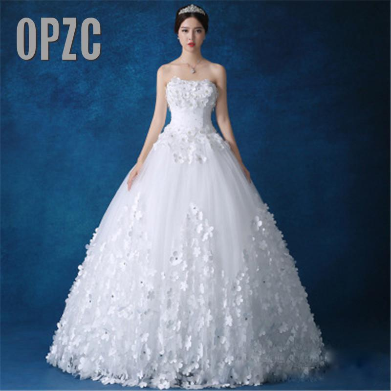 Luxury Crystal Pearls Lace 3D Flower Sweetheart White Ivory Red Champagne Fashion Sexy Wedding Dresses Brides Plus Size KDS