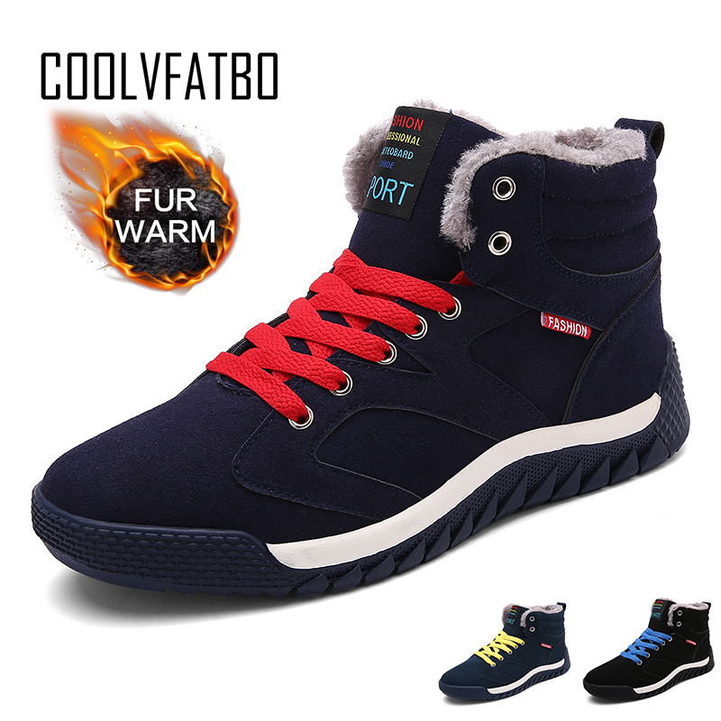 COOLVFATBO Ankle Boots 2019 New Men Boots Plush Warm Winter Shoes Men Sneakers Male Shoes Adult Winter Boots Men Shoes Size 48