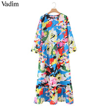 Vadim women dots print maxi dress pleated three quarter sleeve female casual straight dresses