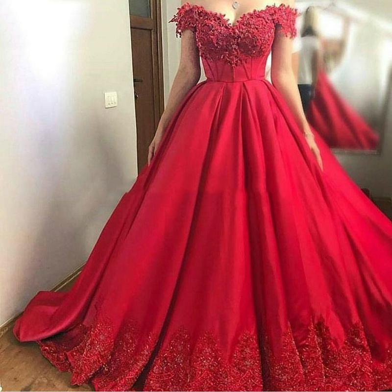 Plus Size Evening Gown Dresses For Women off the Shoulder 2020 Red Lace Long Party Gowns Dubai Prom Dresses Robe De Soiree