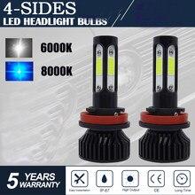 CarTnT H11 1 Par Super Bright LED H9 HB3 9005 HB4 9006 H11 H7 12 20000LM H8 LEVOU Farol 100W 6000K V 8000K Lâmpadas Dos Faróis Do Carro