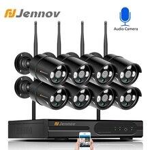 Jennov 8CH 1080P واي فاي نظام كاميرا أمان لاسلكية في الهواء الطلق طقم مراقبة الفيديو كاميرا IP NVR مجموعة CCTV مقاوم للماء IPP ipCam