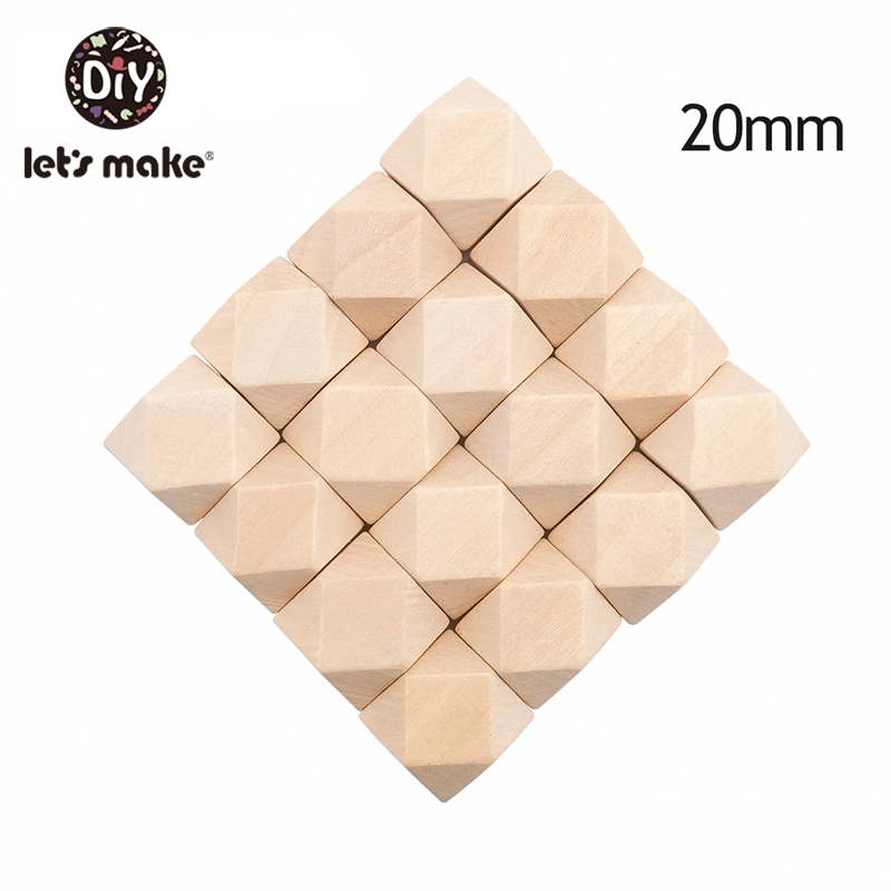 Let's Make 10mm-20mm 100pcs Wood Beads Spacer Beads Unfinished Geometric Beads Jewelry For DIY Wooden Necklace Baby Teether