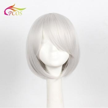Game NieR:Automata Neil the heroine 2B cosplay Silvery white wig Free wig cap цена 2017