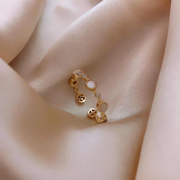 2020 güney kore yeni moda açık halka kadınlar açık lüks moda trendi basit küçük daire endeksi parmak yüzük