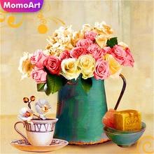 MomoArt DIY Diamond Painting Flowers 5D Full Square Embroidery Vase Mosaic Rhinestone Gift Home Decoration