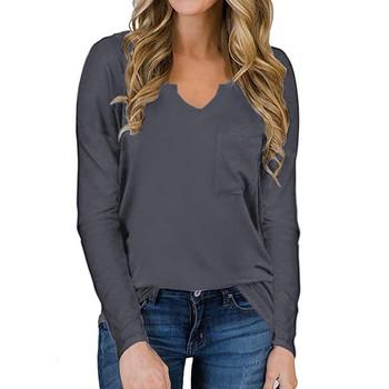 Moda damska Casual loose Solid color podstawowy T-shirt kobieta długa koszula z długim rękawem V-neck topy 2021 Blusas Mujer De Moda tanie i dobre opinie Eillysevens REGULAR Sukno CN (pochodzenie) Zima POLIESTER NONE tops Z KRÓTKIM RĘKAWEM Pełne Dobrze pasuje do rozmiaru wybierz swój normalny rozmiar