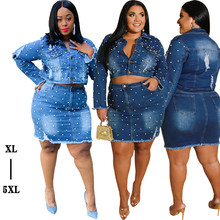 Denim Skirt Plus-Size Outfits Two-Piece-Sets Long-Sleeve Mini Womens And Coat Casual