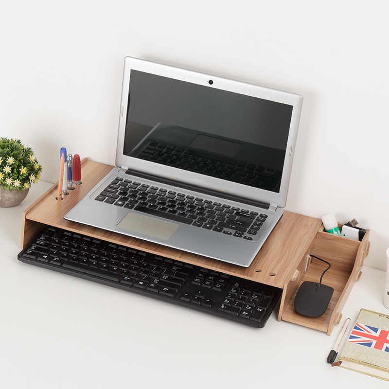木材アセンブリノートパソコンデスクテーブルモニターライザー diy オフィス収納棚コンピュータ画面スタンドキーボードオーガナイザーラップホルダー
